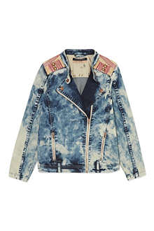 SCOTCH R'BELLE Acid wash denim biker jacket 4-16 years