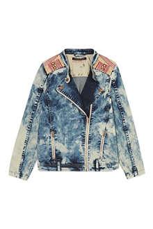 SCOTCH R'BELLE Acid wash denim biker jacket 4-16 years