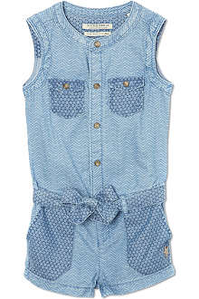 SCOTCH R'BELLE Chevron-print denim playsuit 4-16 years