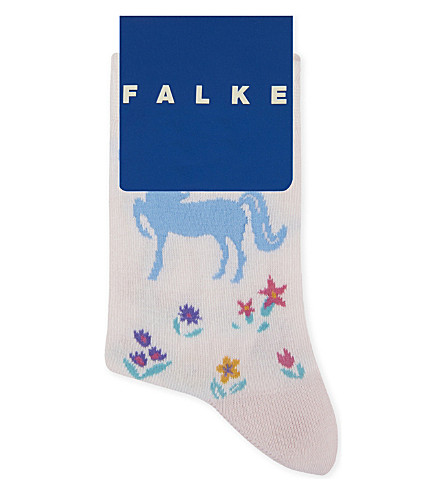 FALKE Horse print cotton socks (Powder+pink