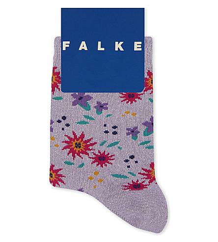 FALKE Floral glitter cotton sock (Lilac