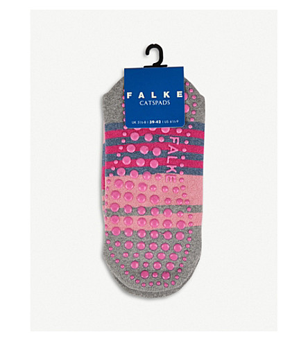 FALKE Irregular stripe catspad cotton socks (Light+grey+melange