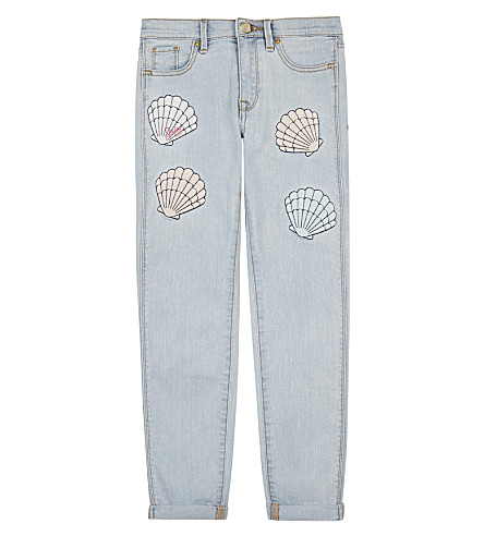 JUICY COUTURE Shell appliqué denim jeans 4-14 years (Mermaid+wash