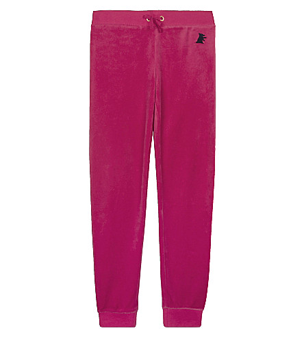 JUICY COUTURE Zuma velour tracksuit bottoms 4-14 years (Flamingo+pink