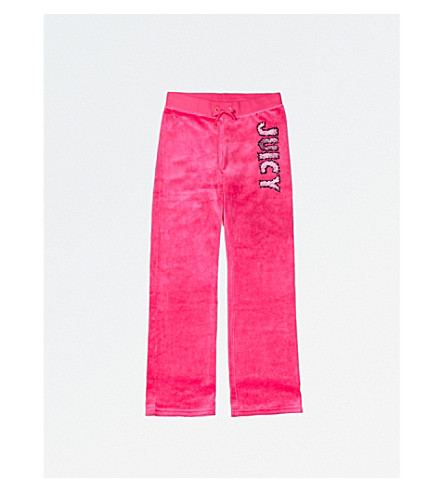 JUICY COUTURE Fuzzy velour jogging bottoms 4-14 years (Dragonfruit
