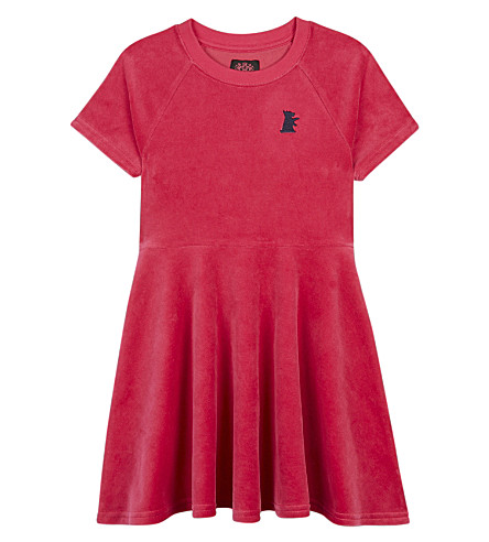 JUICY COUTURE Dog cotton-blend velour skater dress 4-14 years (Flamingo+pink