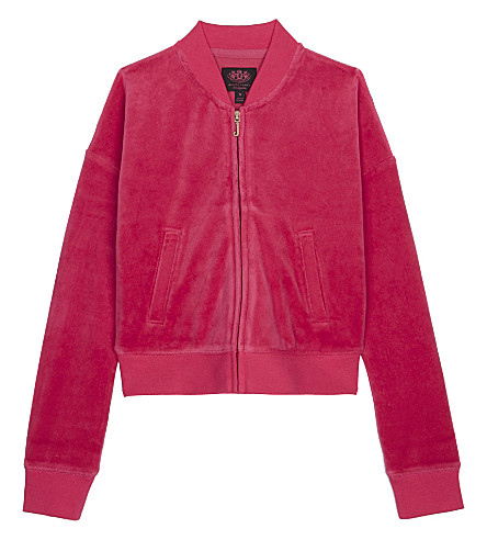 JUICY COUTURE Laurel velour bomber jacket (Flamingo+pink