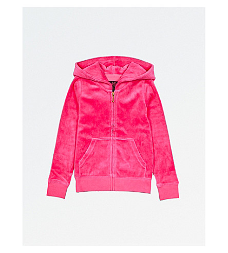 JUICY COUTURE Fuzzy logo velour hoody 4-14 years (Dragonfruit