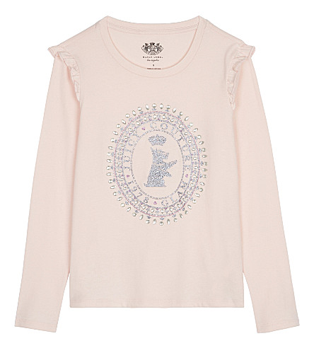 JUICY COUTURE Scottie logo cotton long-sleeved top 4-14 years (Powder+pink