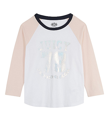 JUICY COUTURE Juicy 78 cotton raglan top 4-14 years (Pwdrpnk_wht_rgl+cmb