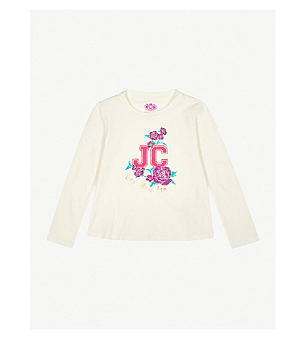 JUICY COUTURE Printed glittered cotton-jersey T-shirt 4-14 years (Vanilla