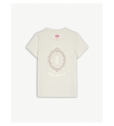 JUICY COUTURE Logo embellished cotton-blend t-shirt 4-14 years (Vanilla