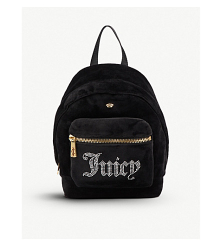 JUICY COUTURE Sequin-embellished velour backpack (Black