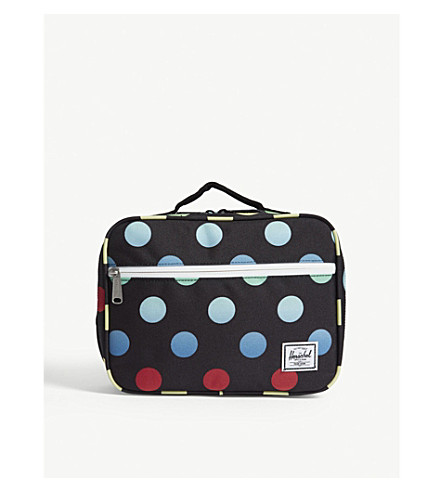 HERSCHEL SUPPLY CO Pop Quiz polka-dot lunch box (Black+polka