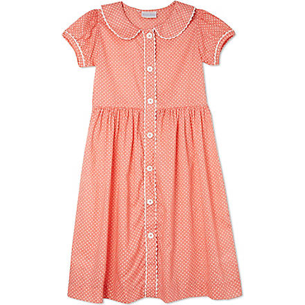 RACHEL RILEY Polka dot button-front dress 3-10 years (Apricot/ivory