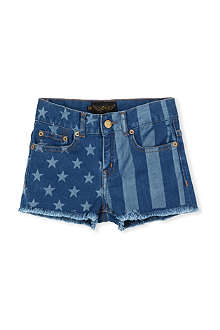 FINGER IN THE NOSE Nove blue denim stars & stripes shorts 6-14 years