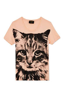 FINGER IN THE NOSE Nikki cat print t-shirt