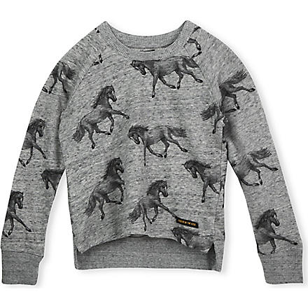 FINGER IN THE NOSE Wish horse print sweatshirt 4-14 years (Grey