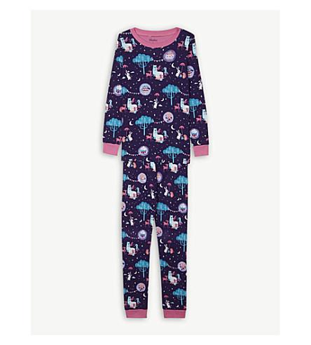 HATLEY Forest tea party print cotton pyjamas 4-12 years (Deep+aubergine