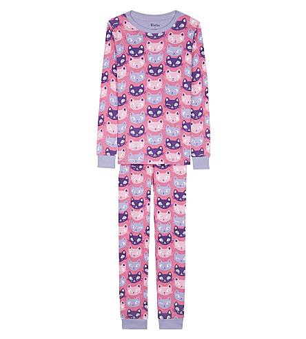 HATLEY Silly kitties organic cotton pyjama set 4-12 years (Pink