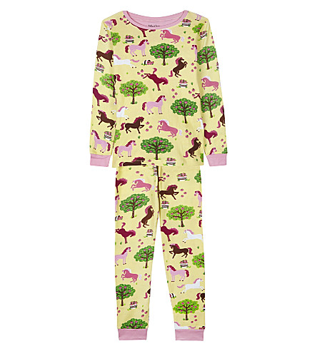 HATLEY Orchard and horses print pyjama set 4-12 years (Yellow