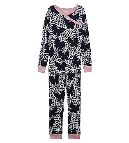 HATLEY Butterfly and buds floral print organic cotton pyjamas 4-12 years (Navy