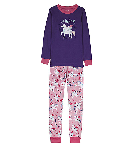 HATLEY Rainbow unicorns cotton pyjamas 4-12 years (Purple/pink
