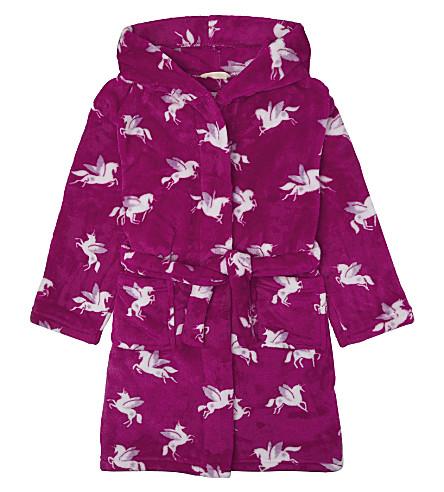 HATLEY Unicorn print hooded fleece dressing gown 6-14 years (Pink