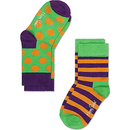 HAPPY SOCKS Pack of two dotted socks 4 months-8 years (Green/multi
