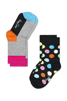HAPPY SOCKS Pack of two polka dot socks 4 months-8 years