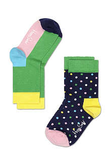 HAPPY SOCKS Pack of two multi-coloured socks 4 months-8 years