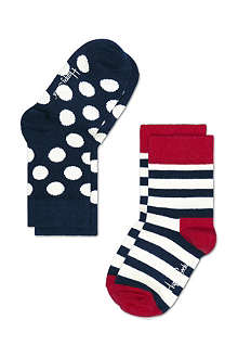 HAPPY SOCKS Pack of two stripe and polka dot socks 4 months-8 years