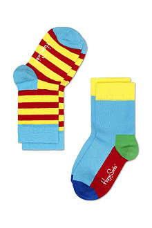 HAPPY SOCKS Pack of two stripe and plain socks 4 months-8 years