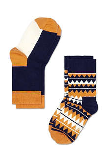 HAPPY SOCKS Pack of two zig zag socks 4 months-8 years