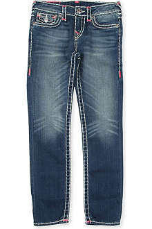 TRUE RELIGION Super T pink detail slim-fit jeans 4-14 years