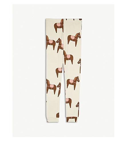 MINI RODINI Horse print organic cotton leggings 4-7 years (Cream/pink