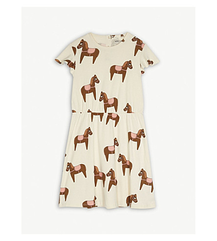 MINI RODINI Horse print cotton dress 4-11 years (Cream/pink