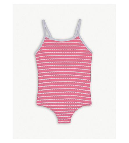 SUNUVA Scalloped stripe neon swimming costume 3-14 years (Pink