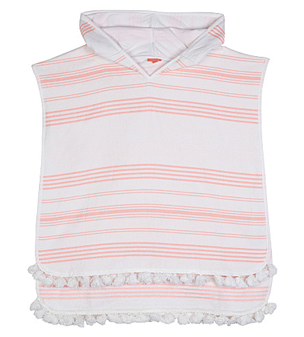 SUNUVA Hamam towelling striped poncho 4-8 years (White/pink