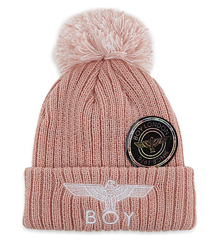 BOY LONDON Eagle knitted bobble beanie (Pink/white