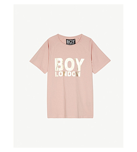 BOY LONDON Foil logo cotton short-sleeve T-shirt 13-16 years (Pink/gold