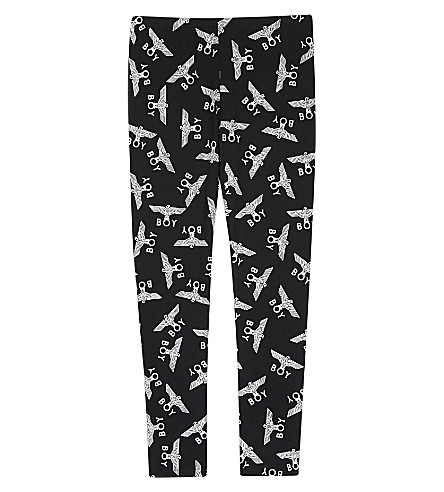 BOY LONDON Logo print cotton leggings 3-12 years (Black/white