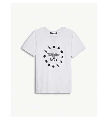 BOY LONDON 徽标棉 T 恤 12-16 岁(白色/黑色