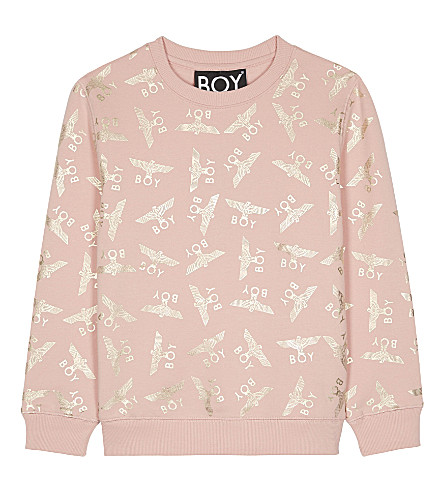 BOY LONDON Logo print cotton jumper 3-12 years (Pink/gold