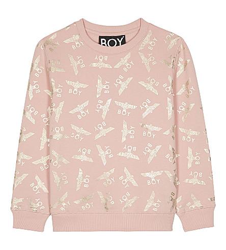 BOY LONDON Logo print cotton sweater 3-12 years (Pink/gold