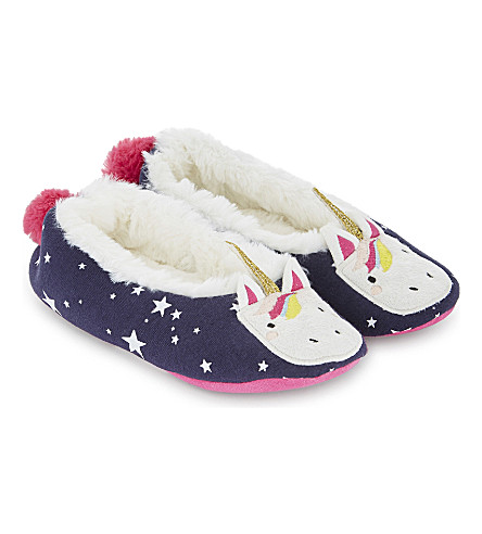 JOULES Unicorn cotton slippers (French+navy+unicorn