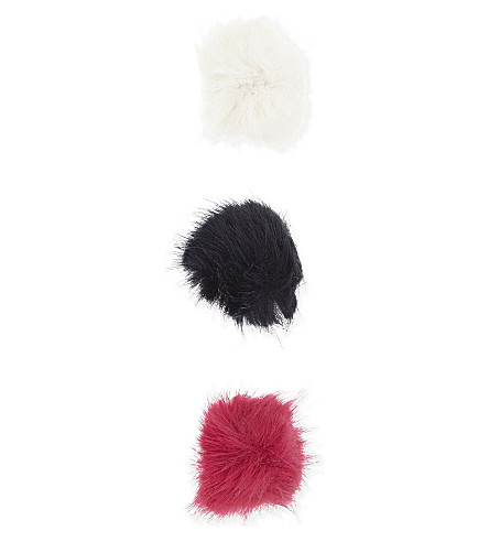 JOULES Faux-fur pom pom hair clips set of three (True+pink