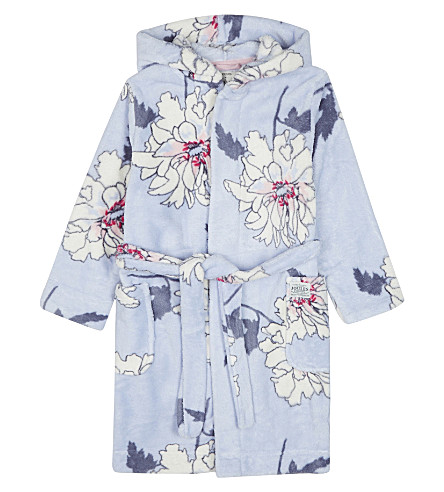 JOULES Flower print dressing gown 4-12 years (Sky+blue+peony