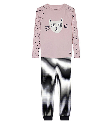 JOULES Sleepwell jersey pyjama set 4-12 years (Rose pink cat