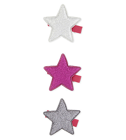 JOULES Glittering star hair clips set of three (Star